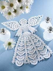 Angel Doily Kit (includes size 10 crochet cotton) on Annie's Crafts at…Not just for holidays, this crochet angel kit is heavenly! Display this beautiful crochet angel doily year-round. Kit includes enough size 10 crochet cotton to make one 11 x doi Crochet Christmas Ornaments, Christmas Crochet Patterns, Holiday Crochet, Crochet Snowflakes, Crochet Doily Patterns, Thread Crochet, Crochet Motif, Crochet Designs, Crochet Crafts