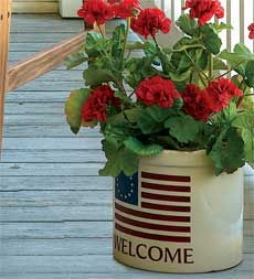 Flag Decorative Welcome Crock
