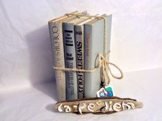 Book bundle  shabby chic  wedding decor  gray  by TheWhatNaught, $22.00