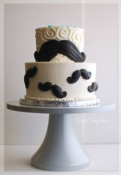 "Mustache Birthday Cake - 5"" over 8"" buttercream cake with fondant mustaches. I'd love to say more, but I really mustache. . . ."