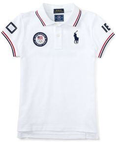 Ralph Lauren Childrenswear Girls' Stretch Mesh Polo - Sizes S-XL Kids - Bloomingdale's Mens Polo T Shirts, Boys T Shirts, Sports Shirts, Mens Tees, Camisa Polo, Sport Shirt Design, Boys Summer Outfits, Kids Outfits, Moda Casual