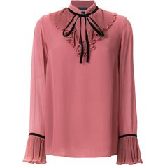 Just Cavalli ruffled blouse ($330) ❤ liked on Polyvore featuring tops, blouses, frilly tops, flutter-sleeve top, pink ruffle top, flounce top and ruffle top