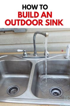 See how she made this outdoor sink on a budget with cheap home depot lumbar, an old sink, old faucet and plumbing parts from the hardware store. Greenhouse Shed, Old Sink, Outdoor Sinks, Tool Room, Lounge Party, Diy Outdoor Furniture, Diy Patio, Outdoor Projects, Backyard Ideas