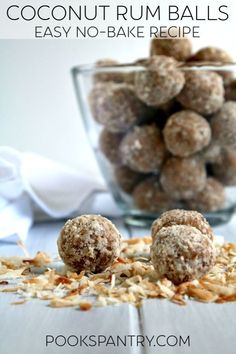 Coconut Rum Balls are like a taste of the tropics in an easy, no-bake treat for adults. The flavor gets even better overnight, making rum balls a perfect make ahead recipe. Rum Recipes, Easy Baking Recipes, Candy Recipes, Holiday Recipes, Snack Recipes, Dessert Recipes, Cocktail Recipes, Margarita Recipes, Snacks