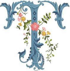 alfabeto celeste con flores T