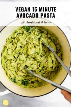 Looking for an easy weeknight dinner recipe for a crowd? Look no further than this 15 minute avocado pasta! It tastes like pesto and is so rich and creamy just from avocado. It's vegan and made with simple pantry staple ingredients. Smother it over your favorite gluten free pasta for an easy vegan dinner. #pasta #avocadopasta #veganpasta Quick Vegetarian Dinner, Easy Vegan Dinner, Gluten Free Recipes For Dinner, Gluten Free Pasta, Healthy Pasta Recipes, Healthy Pastas, Dairy Free Recipes, Lunch Recipes, Vegan Recipes