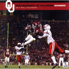 Oklahoma Sooners Wall Calendar: The 2013 Oklahoma Sooners wall calendar is the perfect tribute to your favorite college team. Each monthly page displays a high-quality, fan-pleasing image that will have everyone in your home or work area hailing the Sooners all year long!  $15.99  http://calendars.com/Oklahoma-Sooners/Oklahoma-Sooners-2013-Wall-Calendar/prod201300001161/?categoryId=cat00661=cat00661#