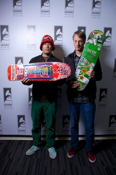 "Ben Harper and Tony Hawk: Harper with skate legend Christian Hosoi's board, on which he wrote lyrics to ""Pleasure And Pain""; and Hawk with h..."