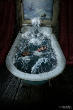 What a creative painting portraying stormy seas.