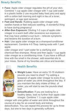 Apple cider vinegar (preferably raw organic, Bragg's organic unfiltered Apple cider vinegar is great!!)  many benefits!