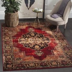 Safavieh Vintage Hamadan Medallion Red/ Multi Distressed Rug (4' x 6') | Overstock.com Shopping - The Best Deals on 3x5 - 4x6 Rugs