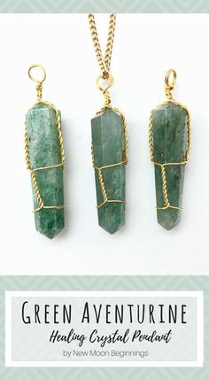 Green aventurine handmade pendant necklace | Natural healing | Heart chakra | New Moon Beginnings #Affiliate #Crystals #Jewelry