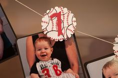 First birthday photo banner number (months) clips from Newborn to 12 months. Baseball theme.