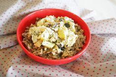 risotto champignons et fondue de poireaux