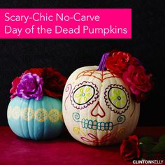 Make these Day of the Dead pumpkins with puff paint, vinyl stencils and faux flowers.
