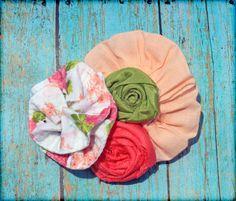 Coral, Lime Green Headband, Hair Accessory, Fabric Flower Clip. $12.75, via Etsy.