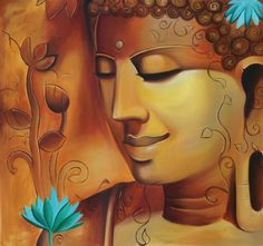 Buddha Portrait Wall Decor Art Handmade Indian Oil on Canvas Buddhist Painting