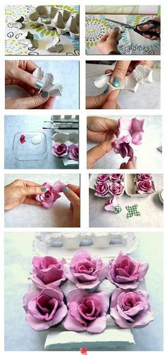 Egg Carton Roses...very pretty