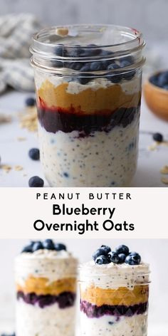 Amazing peanut butter blueberry overnight oats that taste like a classic PB&J. You'll love these healthy overnight oats for a healthy meal prep breakfast. Overnight Oats Receita, Blueberry Overnight Oats, Overnight Oats With Yogurt, Healthy Overnight Oatmeal, Overnight Oats Protein Powder, Low Calorie Overnight Oats, Best Overnight Oats Recipe, Peanut Butter Overnight Oats, Healthy Meal Prep