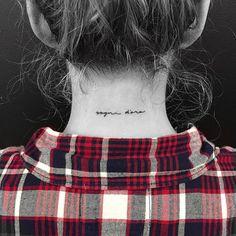 "Back of the neck tattoo saying ""Sogni d'oro"". Tattoo artist: Jon Boy · Jonathan Valena"