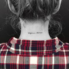 "Back of the neck tattoo saying ""Sogni d'oro"". Tattoo artist: Jon Boy · Jonathan Valena. Meaning: Sweet Dreams"