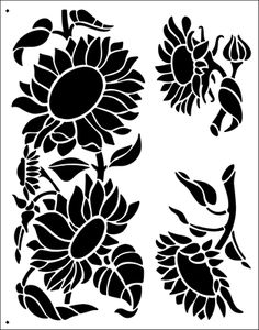 Ro stencils from The Stencil Library. Stencil catalogue quick view page Stencil Patterns, Stencil Painting, Stencil Designs, Stenciling, Silk Painting, Sunflower Stencil, Sunflower Art, Silhouette Clip Art, Silhouette Portrait