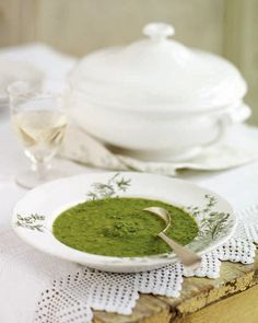 "Fresh Pea Soup from 1789: Would you believe that this recipe was a family favorite for the Jane Austin family.  ""Pea soup was an Austen family favorite: Jane wrote that she was not ashamed to invite an unexpected guest to ""our elegant entertainment"" of ""pease-soup, a spare rib and a pudding"" (letter to Cassandra, December 1, 1798.) This was a perfect way of using up the older peas from the garden to produce a fresh, vividly colored soup."""