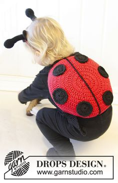 "Crochet DROPS lady bug with shoulder straps in ""Paris"". ~ DROPS Design .. free pattern!"