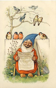 Fritz Baumgarten: Zwerg mit Notenblatt, Vogel zieht an der blauen Mütze, TOP | eBay