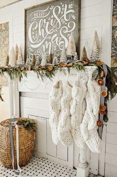 Christmas Mantel Decor with DIY Orange Garland