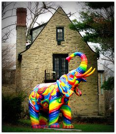 psychedelic elephant yard ornament