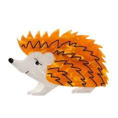 Limited edition, original Erstwilder Hector Hedgehog brooch in orange. Designed by Louisa Camille Melbourne. Animal Jewelry, New Pins, Old And New, Bowser, Hedgehog, Orange, My Love, My Style, Cute