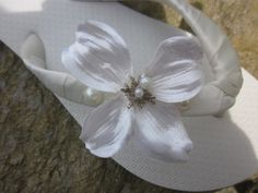 Satin Wedding  Flower and Pearl Flip Flops for by rocktheflops, $33.00