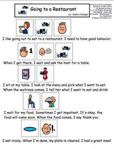 Going to a Restaurant Visual Social Story for Children with Autism