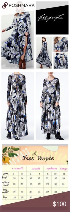"""Free People First Kiss Floral Maxi Dress.  NWT. Free People Dark Onyx Combo First Kiss Floral Printed Maxi Dress, 100% rayon, machine washable, 19"""" armpit to armpit (38"""" all around) 34"""" empire waist no stretch, 19"""" arm inseam, 56"""" front length, 59"""" back length, scoop neck, long sleeves, deep keyhole back, pleated skirt, high low hem, five button back closure, angled empire waist seam, flared silhouette, partially lined, measurements are approx.  NO TRADES Free People Dresses Maxi"""