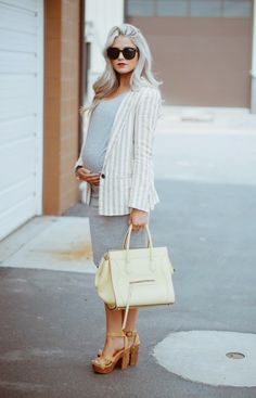 Super cute spring look combining warm and cool colors.