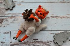 Handmade toy from polymer clay Squirrel