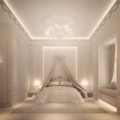 Goodnight, my darling. Luxurious French Styled Bedroom in rich creams.