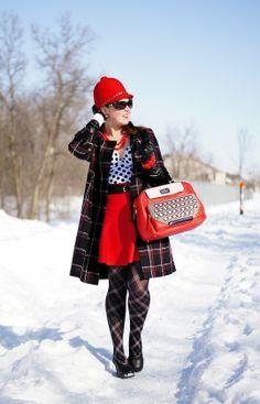 Winnipeg Canadian Fashion Blog,Vedette Bettie shaping swimwear vintage inspired pin up girl, Michael Kors black wool plaid coat jacket, Giovannio New York wool retro wool hat, BCBG Ingrid red skirt, Kate Spade all typed up typewriter bag, John Fluevog