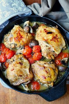 Roasted Chicken Thighs with Tomatoes and Muchrooms from willcookforsmiles.com #chicken #chickenthighs