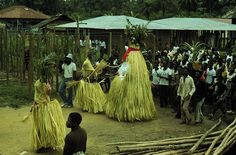 Amu gele masquerade at annual purification rites. Ekowe, Bomo clan. Central Ijo peoples, Nigeria, 1979. Photo by Martha G. Anderson