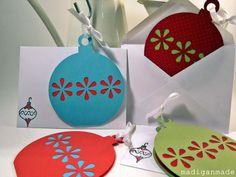 Celebration Card : Christmas Cards Design Inspirations - Xmas Card Idea Handmade Envelopes Matching With Paper Ball Ornaments Christmas Card Decorations, Cute Christmas Cards, Homemade Christmas Cards, Xmas Cards, Homemade Cards, Handmade Christmas, Holiday Cards, Christmas Crafts, Christmas Ornament