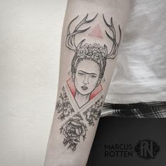 Frida Kahlo Tattoo, blackwork, floral, geometric, dotwork, pointillism, forearm by Marcus Rotten @ Planet Needle Tattoo Studio, Brazil