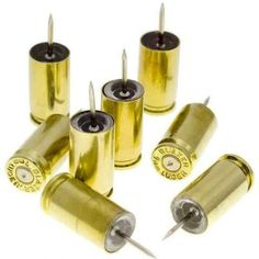 These bullet casing push pins not only make a statement, but are functional as well! Manufactured from once-fired, American made bullet casings. Bullet Casing Crafts, Bullet Crafts, Bullet Art, Bullet Shell, Ammo Jewelry, Bullet Jewelry, Soldering Jewelry, Jewlery, Ammo Crafts