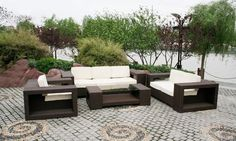Patio Furniture For Your Outdoor Space By The Home Depot Home Depot Paver Stone Patio With Dark Wicker Outdoor Sofa Set With Glass Top Coffee Table From Home Depot Furniture In Patio Design Ideas By Home Depot