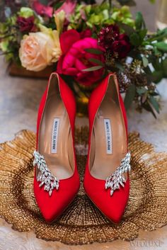 A beautiful pair of Manolo Blahnik, red pumps with rhinstones. Prom Heels, Wedding Heels, Red Wedding Shoes, Wedding Dresses, Bridesmaid Gowns, Red Shoes, Me Too Shoes, Red Bridal Shoes, Red Pumps