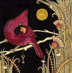 Art by Anita Inverarity    Cardinal  Ink & Gold Leaf on Illustration Board  Original on hold for an expo