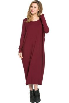 Long-Sleeve, Dolman Midi Dress