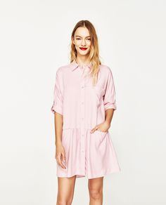 SHIRT DRESS WITH FRILL - Available in more colours