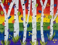 Paint a fun rainbow birch painting at your rainbow or art party! Visit www. Art Pictures, Art Images, Art Pics, Sip N Paint, Rainbow Birthday, Art Party, Birch, Gallery, Pretty